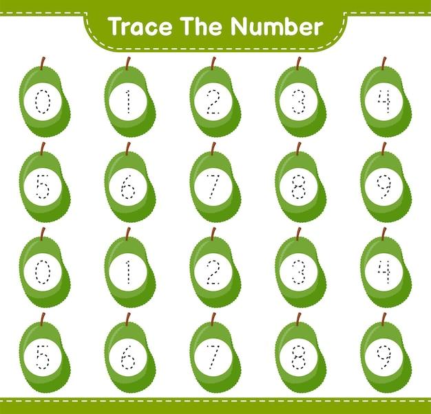 Prześledź numer. numer śledzenia z jackfruit. gra edukacyjna dla dzieci, arkusz do druku
