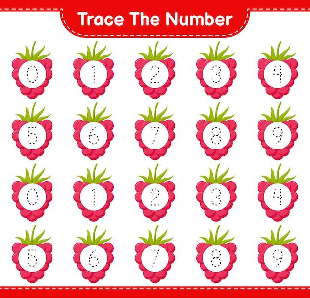 Prześledź numer. numer śledzenia z malinami. gra edukacyjna dla dzieci, arkusz do druku
