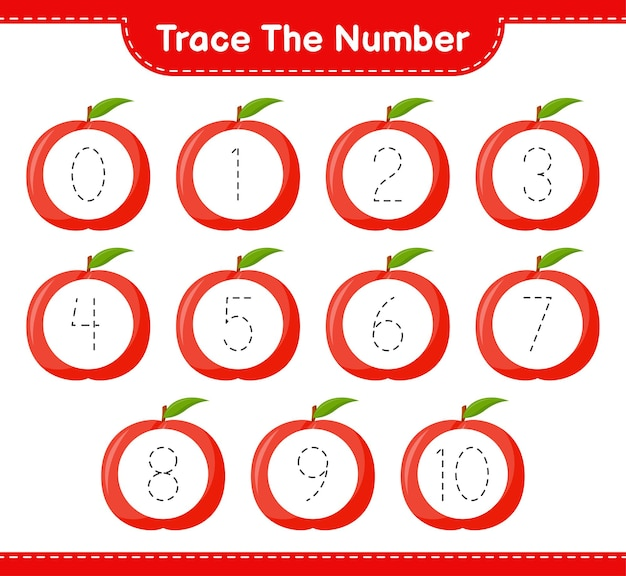 Prześledź numer. numer śledzenia z nektaryną. gra edukacyjna dla dzieci, arkusz do druku