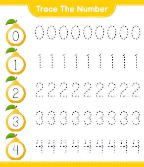 Prześledź numer. numer śledzenia z quince. gra edukacyjna dla dzieci, arkusz do druku