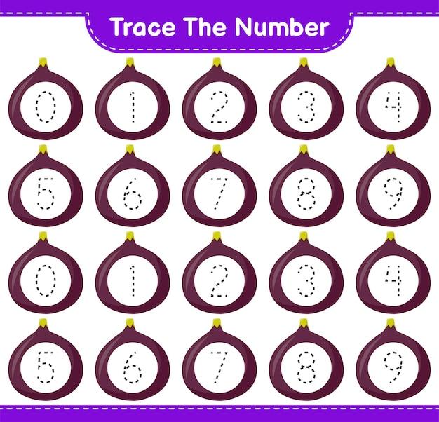Prześledź numer. numer śledzenia z rys. gra edukacyjna dla dzieci, arkusz roboczy do wydrukowania