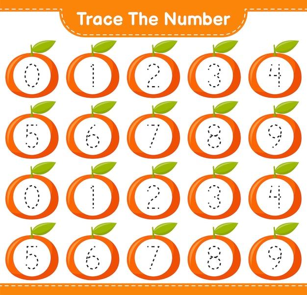 Prześledź numer. numer śledzenia z tangerinem. gra edukacyjna dla dzieci, arkusz do druku
