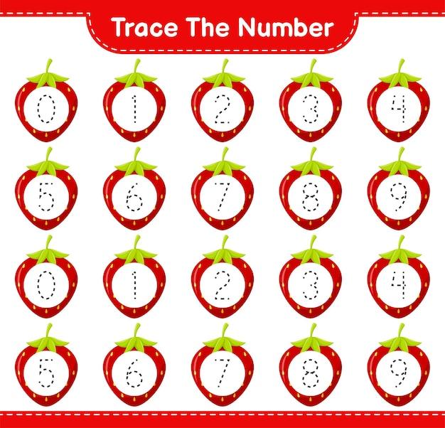 Prześledź numer. numer śledzenia z truskawką. gra edukacyjna dla dzieci, arkusz do druku