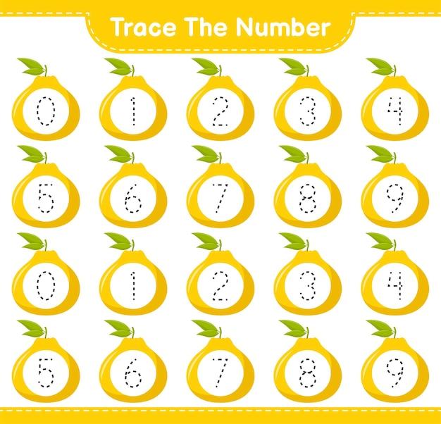 Prześledź numer. numer śledzenia z ugli. gra edukacyjna dla dzieci, arkusz do druku