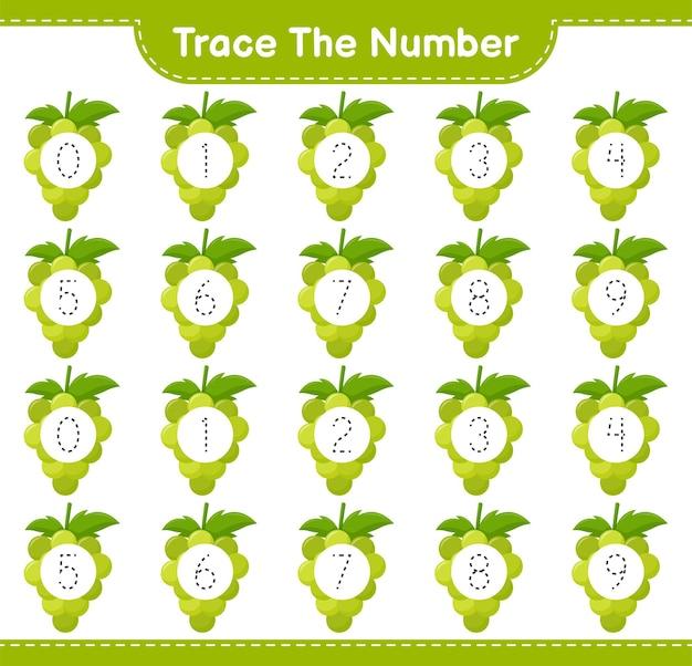 Prześledź numer. numer śledzenia z winogronem. gra edukacyjna dla dzieci, arkusz do druku