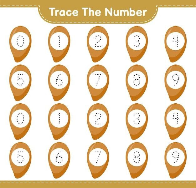 Prześledź numer. numer śledzenia za pomocą zapote. gra edukacyjna dla dzieci, arkusz do druku