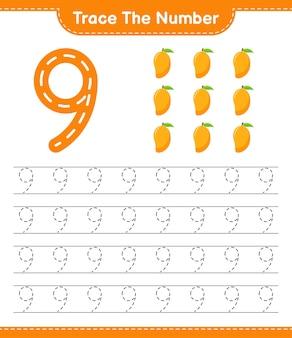 Prześledź numer. śledzenie numeru z mango. gra edukacyjna dla dzieci, arkusz do druku