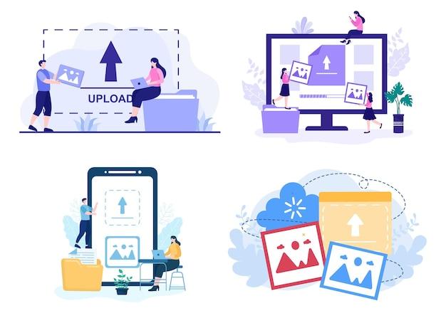 Prześlij obraz tła informacji i danych urządzeń online do ilustracji wektorowych koncepcji sieci społecznościowych