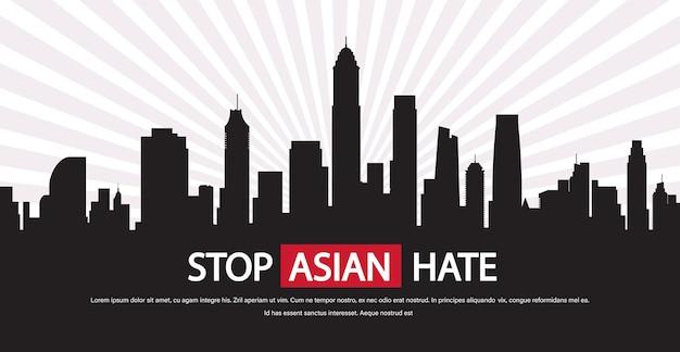 Przestań azjatycką nienawiść. baner przeciwko rasizmowi podczas pandemii koronawirusa covid-19