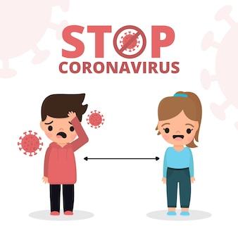Przestań koncepcja koronawirusa chory chłopiec
