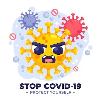 Przestań koncepcja koronawirusa z gniewnym wirusem