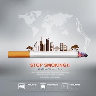 Przestań palić koncepcję dla tła świata bez dnia tytoniu.