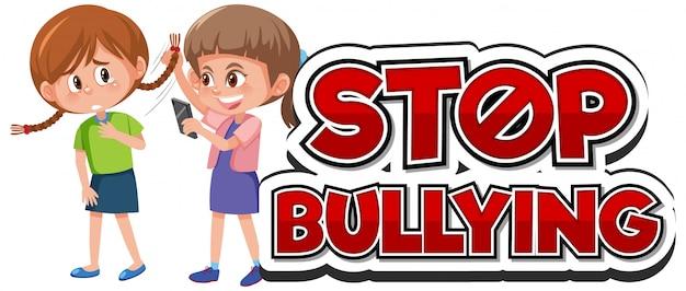 Przestań przemocy domowej projekt czcionki dziewczyna znęcanie się przyjaciel