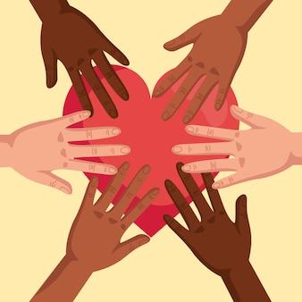 Przestańcie rasizmowi, z rękami złożonymi i sercem, koncepcja czarnej materii życia