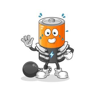 Przestępca baterii. postać z kreskówki