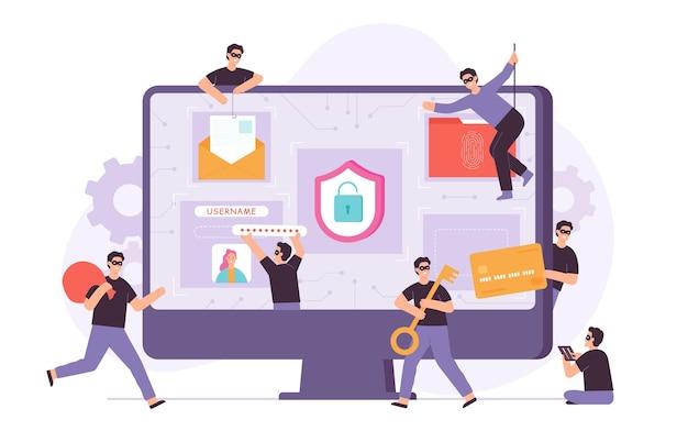 Przestępca i złodziej włamujący się do komputera oraz kradnący dane i pieniądze. małe płaskie znaki hakerskie atakują sieć. koncepcja wektora ryzyka cyberprzestępczości