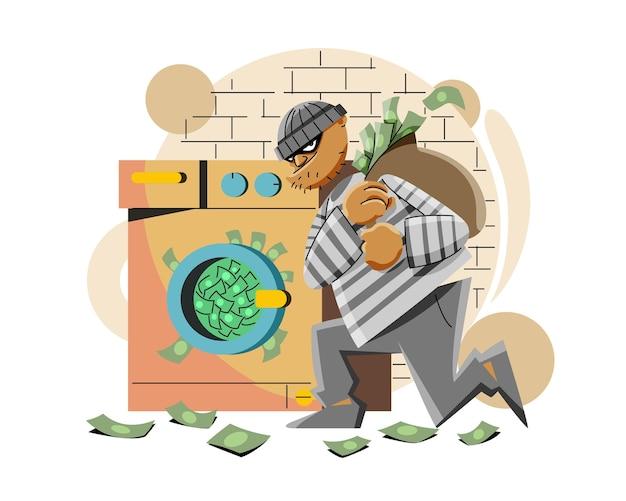 Przestępca robi koncepcję prania pieniędzy