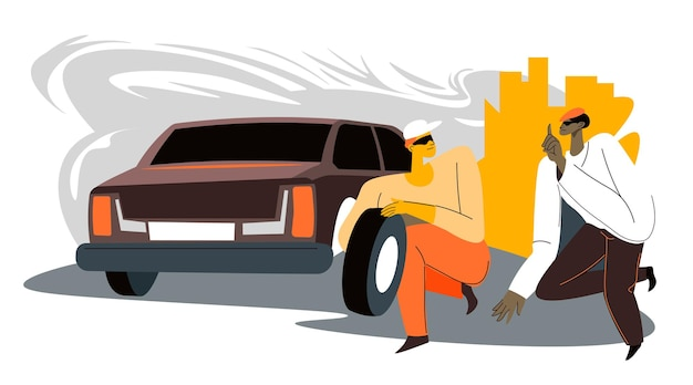 Przestępcy kradnący części samochodowe w mieście, mężczyźni pracujący w grupie zabierający opony z transportu. nielegalne działania osobistości w mieście. rabunek i kradzież, przestępcy na zewnątrz. wektor w stylu płaskiej