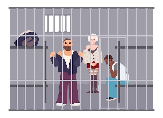 Przestępcy w celi na posterunku policji lub w więzieniu. więźniowie zamknięci w pomieszczeniu z metalową kratą. przestępcy lub zatrzymani w areszcie. płaskie postaci z kreskówek. ilustracja wektorowa kolorowe.