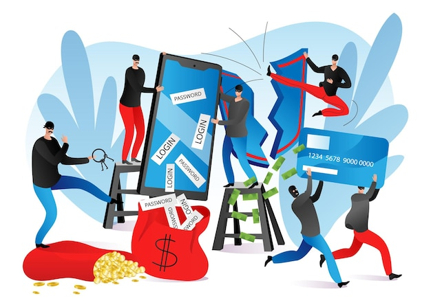 Przestępczość bezpieczeństwa, oszustwa w internecie, ilustracji wektorowych. atak hakera na telefon, postać malutkiego człowieka kradnie hasło, login, pieniądze, kartę ze smartfona. złodziej kryminalny podczas hakowania cybernetycznego.