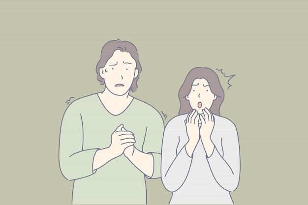 Przestraszeni ludzie, przerażona para, zszokowani przyjaciele koncepcja