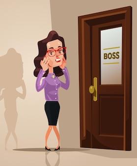 Przestraszona przestraszona kobieta pracownik biurowy boi się wejść do biura szefa. ilustracja kreskówka płaski wektor
