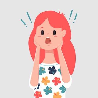 Przestraszona twarz postać kobiety. ilustracja kreskówka wektor na białym tle
