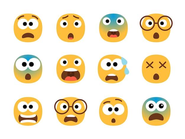 Przestraszone twarze emotikon.