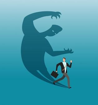 Przestraszony biznesmen ucieka w panice z własnego cienia. koncepcja biznesowa wektor lęk i konflikt