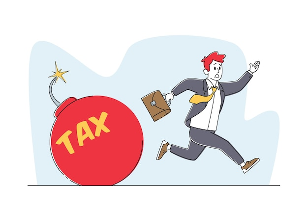 Przestraszony biznesmen uciekający przed wielką czerwoną bombą z płonącym lontem i napisem podatkowym