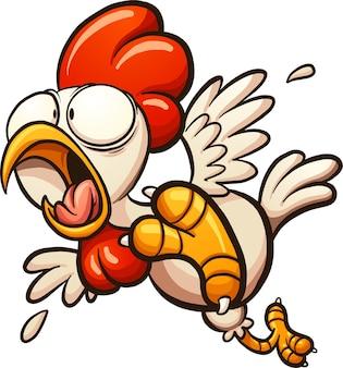 Przestraszony kurczak kreskówka.