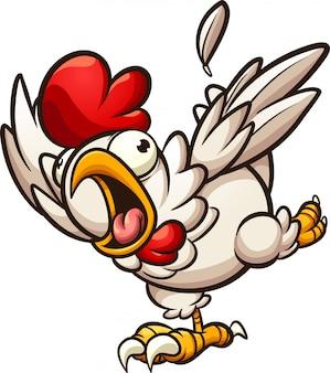 Przestraszony Kurczak Premium Wektorów