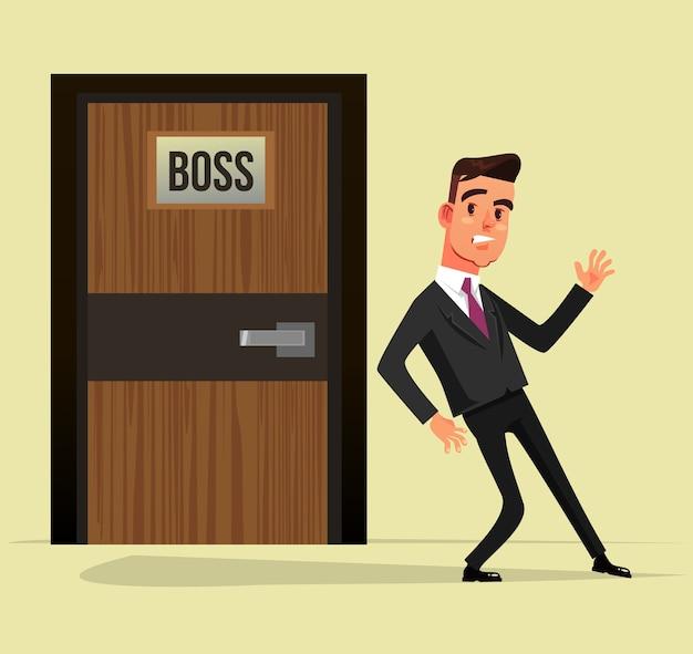 Przestraszony przestraszony pracownik biurowy mężczyzna boi się wejść do biura szefa. ilustracja kreskówka płaska