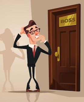Przestraszony przestraszony pracownik biurowy mężczyzna boi się wejść do biura szefa. ilustracja kreskówka płaski wektor