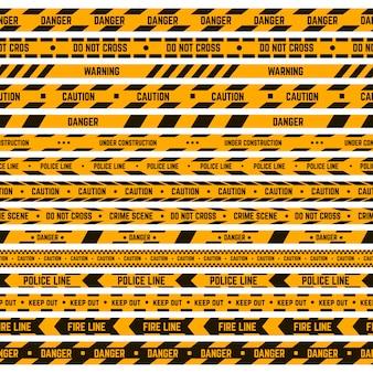 Przestroga w paski. ostrzegawcza żółta, czarna taśma, linia policji kryminalnej, paski ostrzegawcze. zestaw ilustracji taśmy obwodowej bezpieczeństwa. bariera niebezpieczna, taśma zabezpieczająca miejsce wypadku