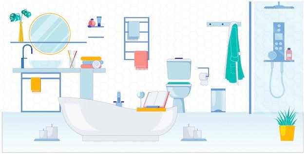 Przestronna łazienka dla dwojga, wektorowa ilustracja.