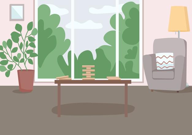 Przestronny salon do wypoczynku płaska ilustracja kolorowa drewniana blokowa wieża na stole do gier fotel i roślina doniczkowa salon d kreskówka wnętrze z oknem ściennym na tle