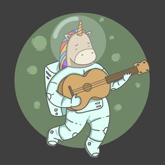 Przestrzeń astronauta jednorożca