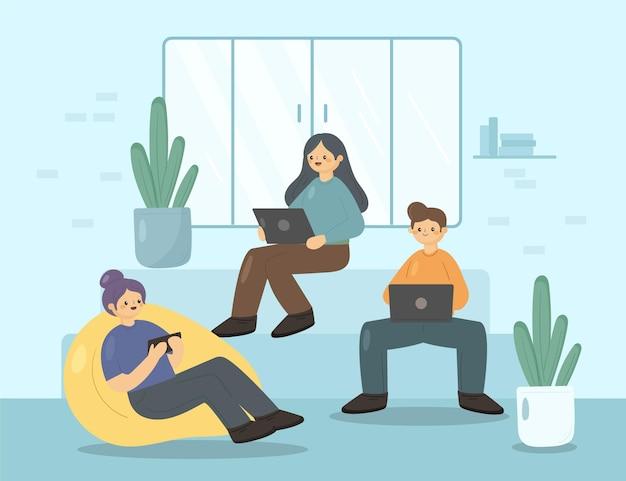 Przestrzeń coworkingowa odręcznie rysowana