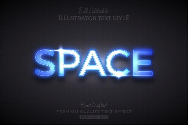 Przestrzeń futurystyczny efekt edytowalnego stylu tekstu premium