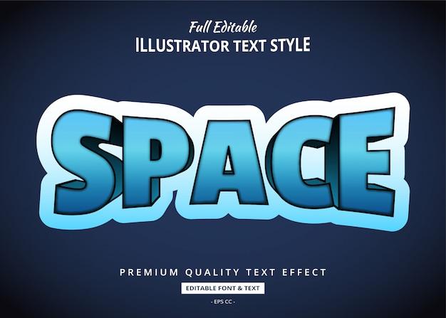 Przestrzeń futurystyczny efekt stylu tekstu 3d
