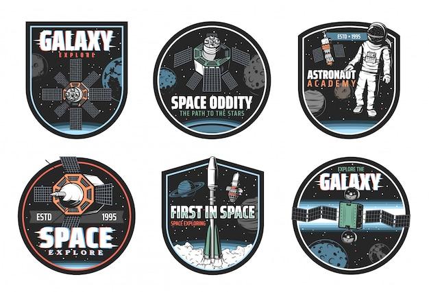 Przestrzeń i galaktyka ikony statków kosmicznych i astronautów