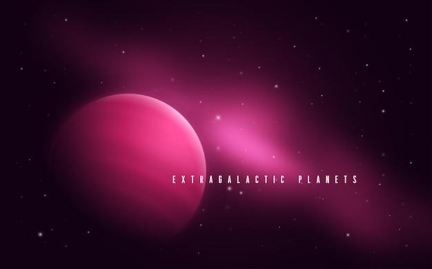 Przestrzeń kosmiczna abstrakcyjna ilustracja sci-fi z gazowym gigantem i mgławicą.