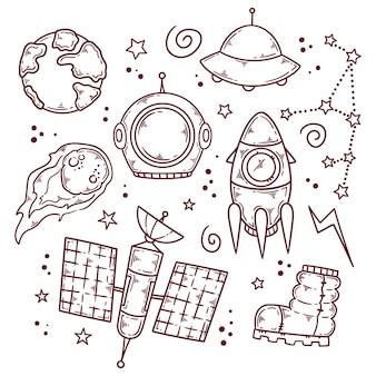 Przestrzeń kosmiczna doodle ilustracja
