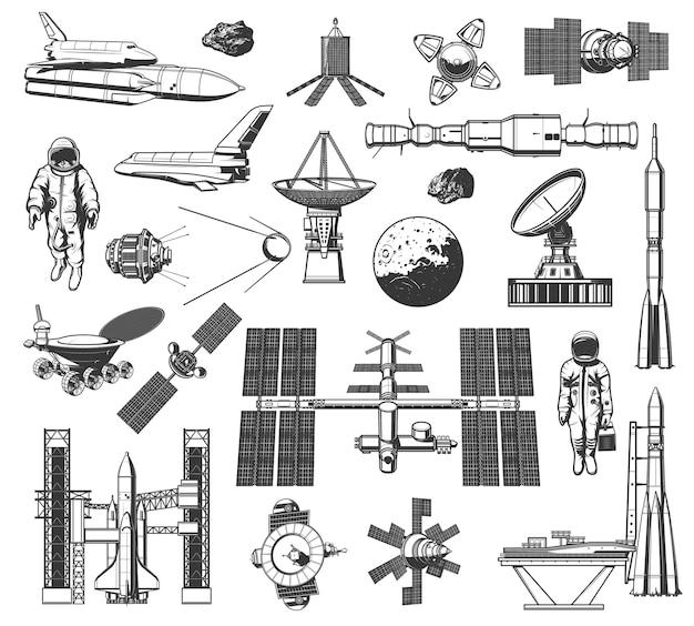 Przestrzeń kosmiczna eksploruj monochromatyczne ikony. wszechświatowa ekspedycja galaktyk przygoda.