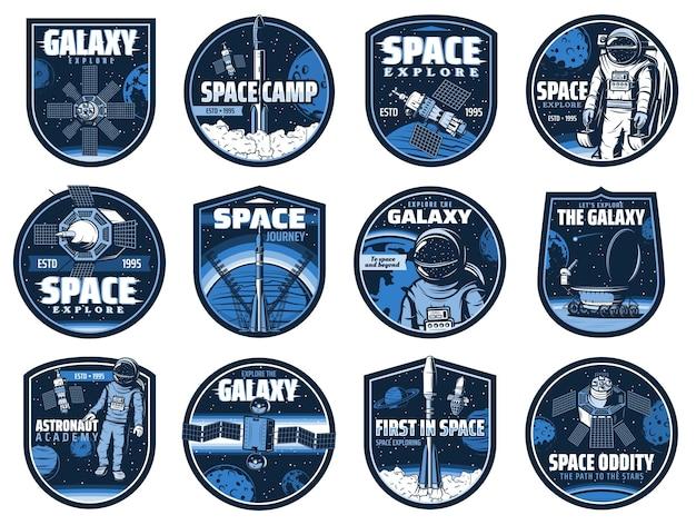 Przestrzeń kosmiczna z efektem usterki. akademia astronautów, galaktyka, rakieta.
