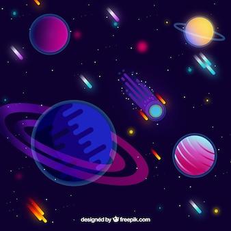 Przestrzeń kosmiczna z meteorytów w płaskim stylu