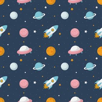 Przestrzeń kreskówka wzór. planety na białym tle na niebieskim tle.