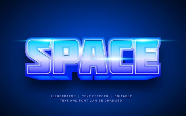 Przestrzeń niebieski efekt tekstu retro