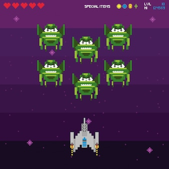 Przestrzeń pikselowa retro gry wideo
